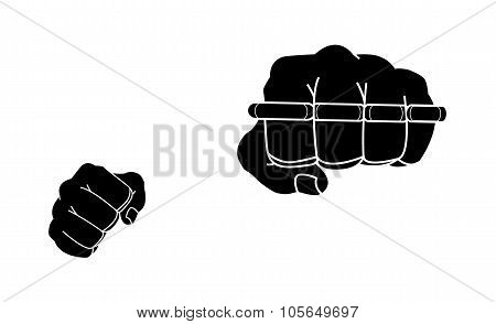 Clenched man fists holding brass-knuckle. Black