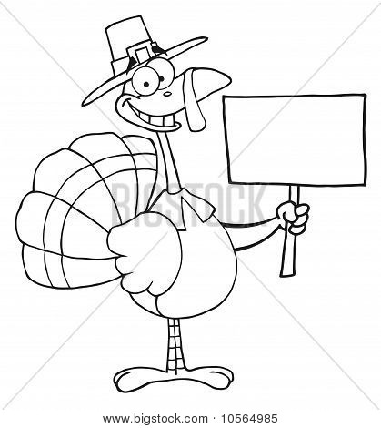 Outlined Turkey With Pilgrim Hat Holding A Blank Sign