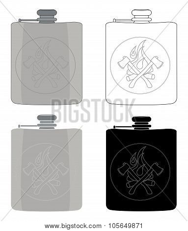 Drinking flask icon set