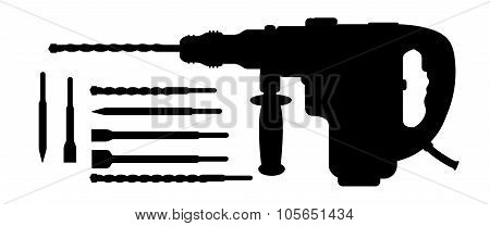Electric hammer drill and bits silhouettes