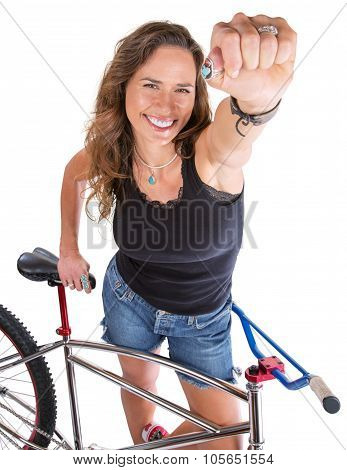 Mountain Biker Showing Fist