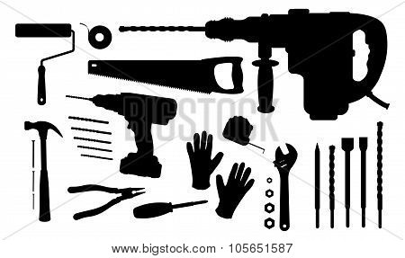 Construction tools silhouettes set