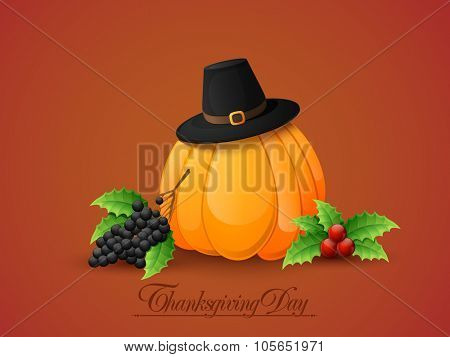 Happy Thanksgiving Day celebration with pumpkin, pilgrim hat and fresh fruits on glossy background.