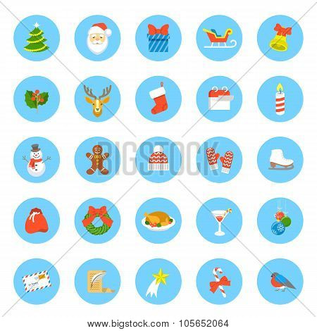 Christmas Symbols Flat Vector Round Icons Set