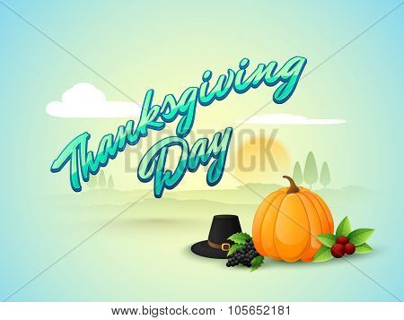 Fresh fruits, pumpkin and pilgrim hat on glossy nature background for Happy Thanksgiving Day celebration.