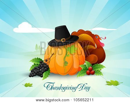 Happy Thanksgiving Day celebration with fruits, vegetables, pilgrim hat and Turkey Bird on abstract rays background.