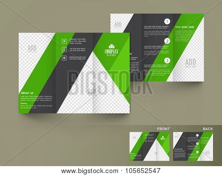 Professional Business Trifold, Flyer, Banner or Template with front and back page presentation.