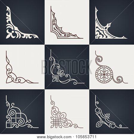 Calligraphic design elements. Vintage corners set. Lines style