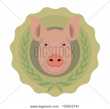 Butchery eco logo. Pig in laurel wreath. No outline