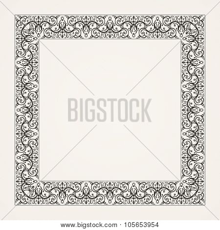 Vintage baroque floral frame. raster baroque illustration
