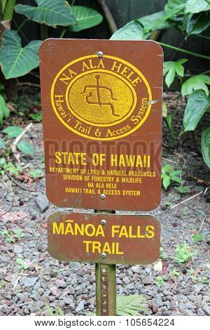 Manoa Falls trail sign