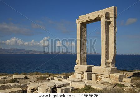 Apollo Temple's entrance on Naxos island in Greece during the day