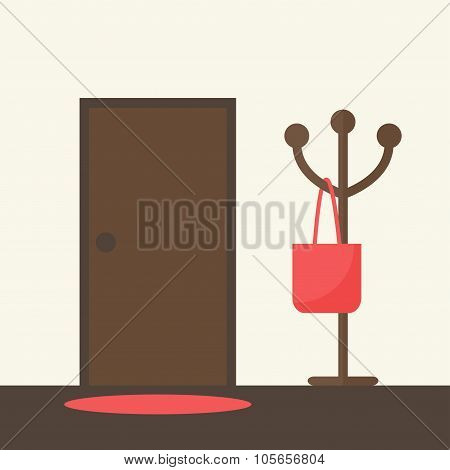 Hallway interior design with door and floor hanger.