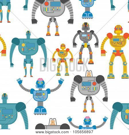 Cyborgs Seamless Pattern. Background Of Lovely Colored Robots. Machines With Artificial Intelligence