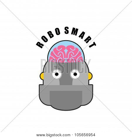 Smart Robot. Emblem Of Biomechanics Of  Human Brain. Logo For Intellectual Anthropomorphic Machines