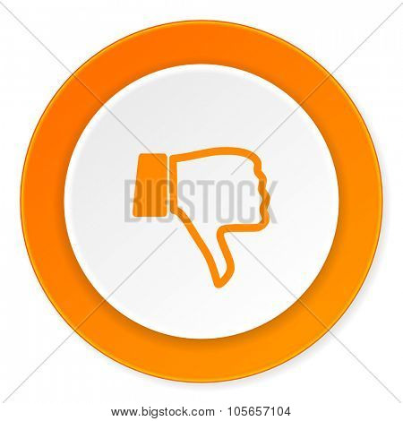 dislike orange circle 3d modern design flat icon on white background