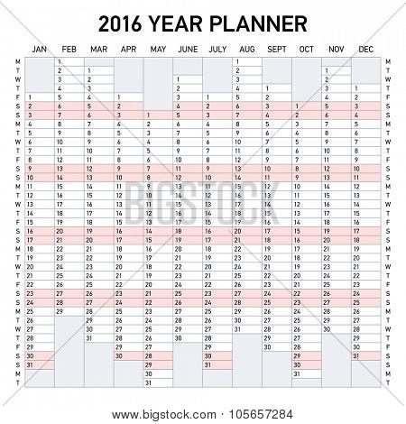 2016 year planner. Week starts Monday.