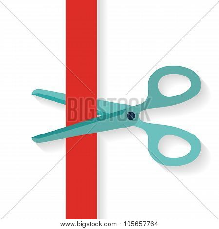 Flat design icon scissors cutting red vertical ribbon.
