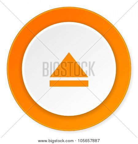 eject orange circle 3d modern design flat icon on white background
