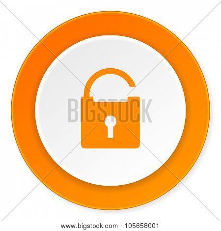 padlock orange circle 3d modern design flat icon on white background
