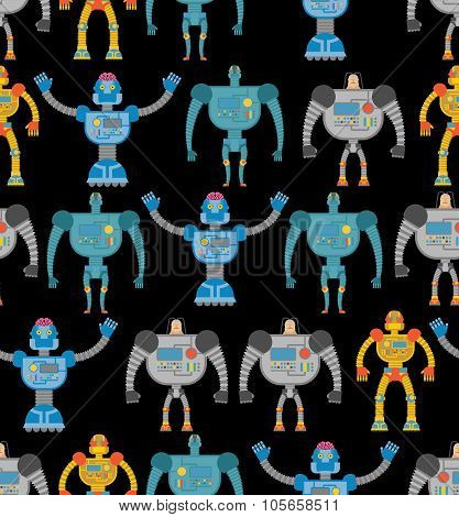 Robots Seamless Pattern. Cosmic Cyborgs Seamless Pattern. Texture For Baby Tissue.