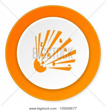 bomb orange circle 3d modern design flat icon on white background