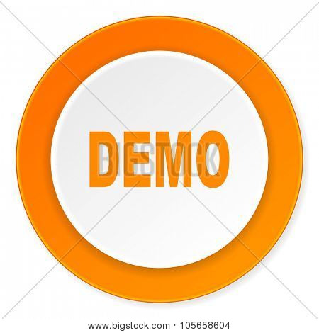 demo orange circle 3d modern design flat icon on white background