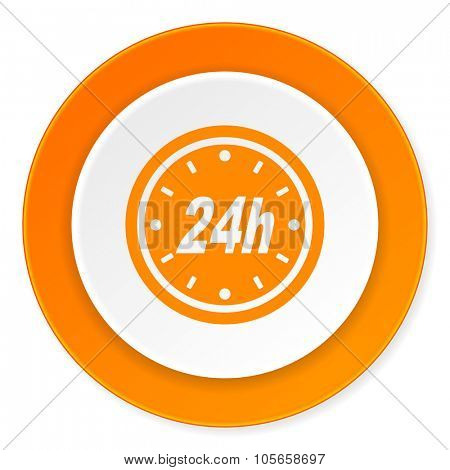 24h orange circle 3d modern design flat icon on white background