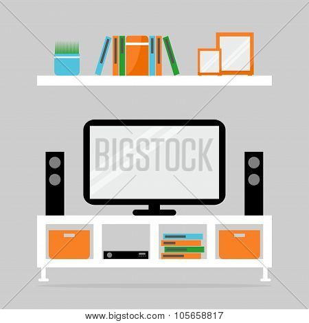 Tv table with tv set and loudspeakers. Contemporary living room interior.