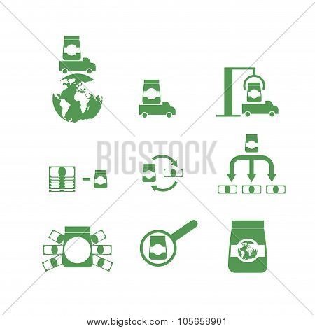 Set Of Icons Money And Goods. Shipping, Logistics, Unloading Cargo. Profit From  Sale Of Goods.