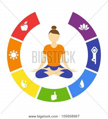 Yoga lifestyle circle with woman isolated on white