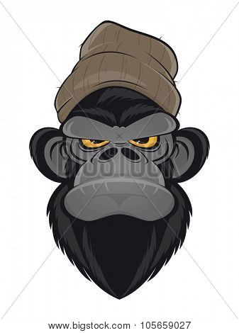 angry ape with hat