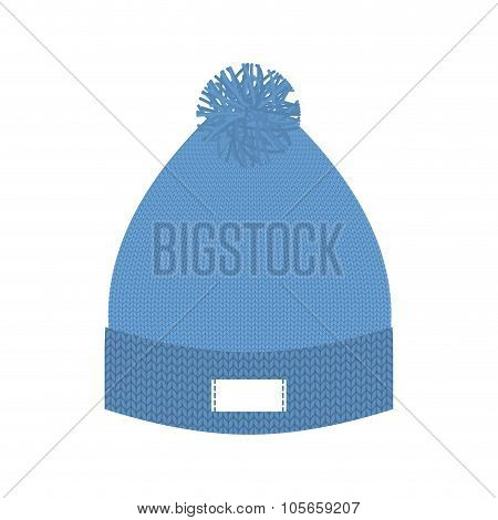 Knitted Blue Hat. Winter Cap. Wool Accessory For Cold Weather.