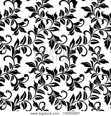 Seamless Pattern With Twisted Branches With Leaves