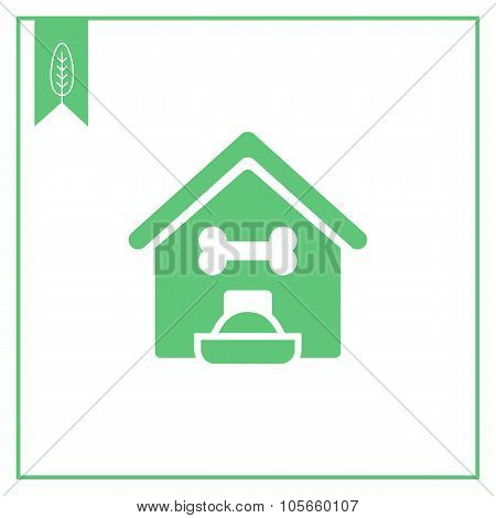 Kennel and dog bowl icon