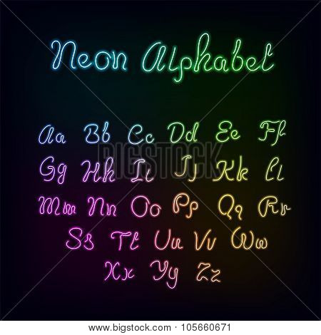 Neon rainbow color glow alphabet.