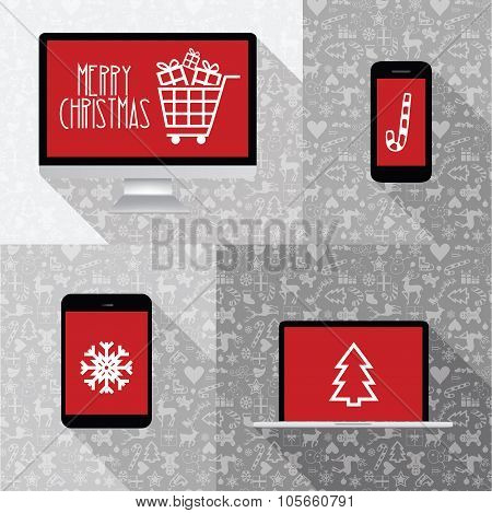 Modern Computer, Phone, Tablet, Laptop Collection With Red Screen And Christmas Icons - Christmas Ic