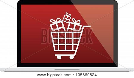 Laptop Illustration With Red Screen, Shopping Cart And Gift Icons - Vector Graphic