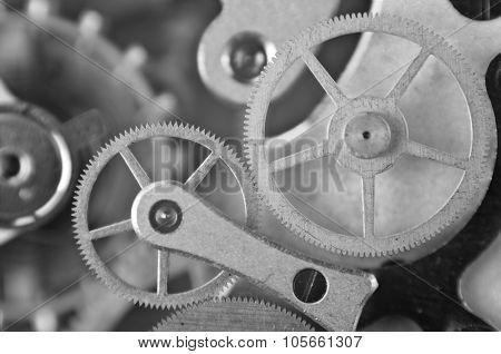 Metal Cogwheels, Black And White Macro Photo.