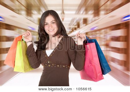 Girl In A Shopping Center