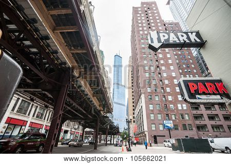 Chicago Buildings, Towering Overhead, Overground Railway, Retro Style Carpark Signs
