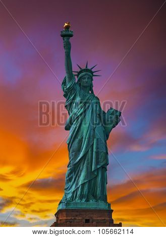 Statue of Liberty New York Manhattan at sunset almost silhouette