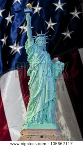Statue of Liberty in New York City with American flag background