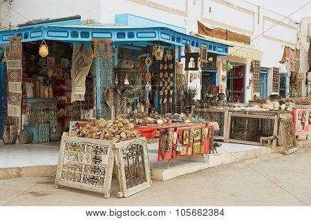 Exterior of a souvenir shop entrance in El Djem, Tunisia.