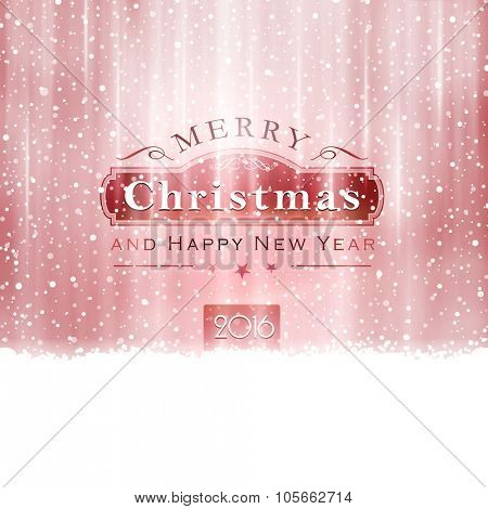 Abstract Christmas background in shades of silver red with snowfall and light effects to give it a festive feeling.