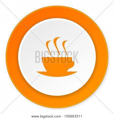 espresso orange circle 3d modern design flat icon on white background
