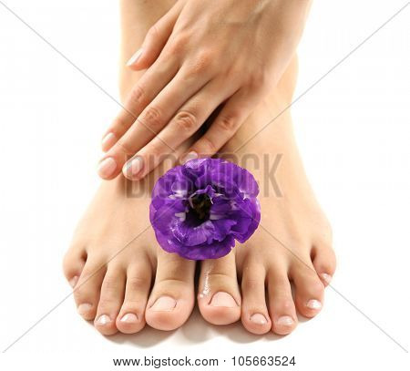 Female feet at spa pedicure procedure with flower isolated on white