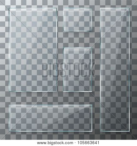 Vector modern transparent glass plates set