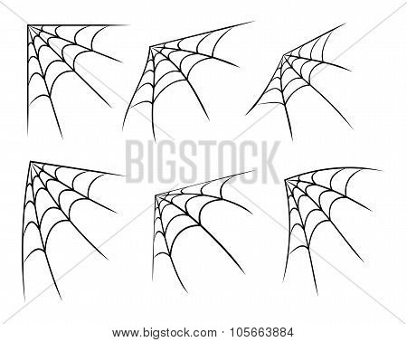 Halloween Corner Spider Web, Cobweb Symbol, Icon Set. Vector Illustration Isolated On White Backgrou
