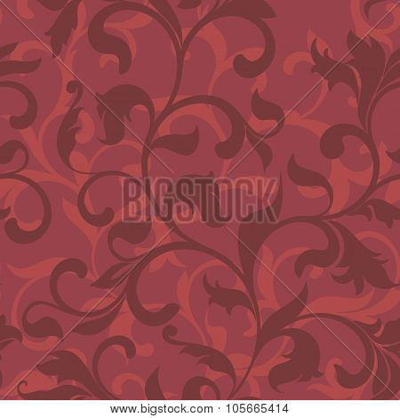 Seamless Pattern With Floral Tracery On A Red Background